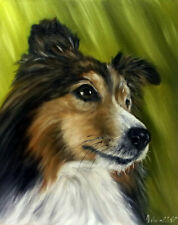 Original Collie Dog Oil Painting Vintage Style Animal Pet Portrait