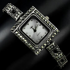Sterling Silver 925 Art Deco Design Champagne Swiss Marcasite Watch 7.5 Inch