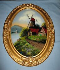 ANTIQUE WOOD GESSO FRAME CONVEX GLASS w/REVERSE PAINTING 'SUMMER IN HOLLAND'