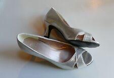 Women's Silver Open Toe Shiny Pumps Heels Size 8 (EUR 39) NEW No Box/Never Worn