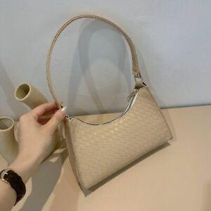 Fashion Plaid Pattern Baguette Woven Style Faux Leather Shoulder Bags For Women