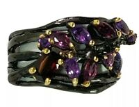 Ladies Amethyst and Garnet 925 Sterling Silver Ring Size 8