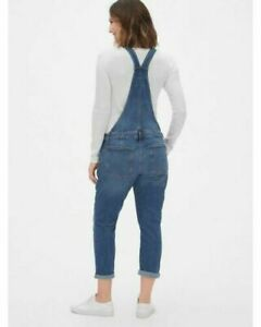 Gap Maternity Bib Overalls Size Medium Indigo Blue Denim Cropped Capri Jeans E57