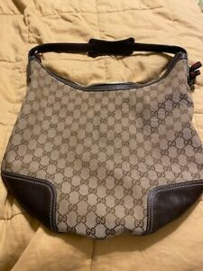 Authentic Gucci Monogram Brown Leather Strap Hobo Handbag Gently Used