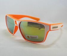 BioHazard Optics Sunglasses ORANGE & WHITE & Mirror Tint Lens Unisex Mens New