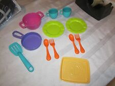 Fisher Price Fun with Food Dora kitchen set parts plate cups fork spoon pot pan