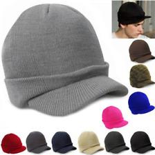 Fashion Men's Warm Baggy Crochet Visor Brim Beanie Ski Cap New Knitted Skull Hat