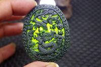 Chinese Natural black jade carved Zodiac dragon statue jade pendant