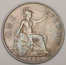 1931 UK Great Britain British One 1 Penny George V Coin VF+ Ding