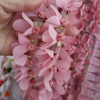1Yard Flower Embroidered Trim Lace Ribbon DIY Wedding Sewing Applique Craft DIY