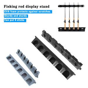 AU Horizontal Wall Mount Fishing Rod Rack Holder Stand Storage 6 Rods Organizer