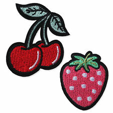 Strawberry or Cherry Iron/Sew on Appliques Embroidered Garment Patches