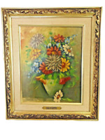 Salvietti Floral Still Life Canvas Oil Painting Signed Framed Italy 20th Century