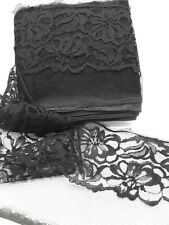 lot black flat lace 3 inch wide unfinished edge 11 yards lot