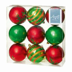 Christmas - Tree Decorations - 80mm Baubles -Pack of 9 - Choose Colour