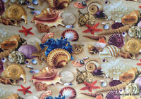 Beach Sea Shells Sandy Beach Coastal Nautical Landscape Fabric By the Yard t3/7