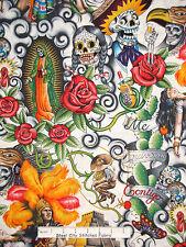 Tatoo Theme Fabric - Contego Skull Rose Cactus Alexander Henry #7204A - 2 Yards