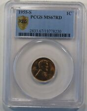 1955-S Lincoln Wheat Cent PCGS MS67RD Secure Plus