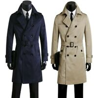 Men's Classic Trench Coat Belted Slim fit Diuble Breasted Lapel Dust Jacket New
