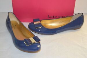 New $258 kate spade New York Trophy Cobalt Blue Patent Leather Flats w/Bow sz 10