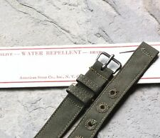 Olive drab green cotton 12.5mm 2-pc USA made military watch band NOS 1940s/50s