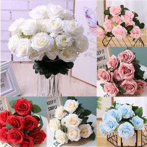 12 Head Artificial Rose Bouquet Silk Fake Flowers Leaf Wedding Party Home Decor