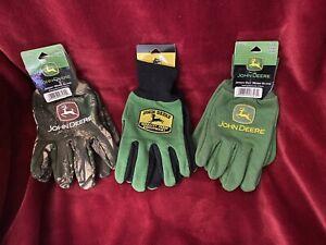 JOHN DEERE Cotton Work Gloves (Lot Of 3) 2 Grip 1 Camo MEN'S Glove LARGE