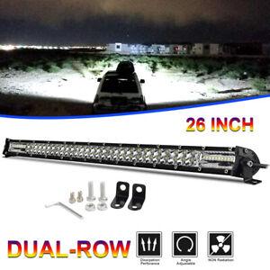 Slim CREE LED Light Bar 26 Inch 600W Dual Row Combo Spot Flood Work Offroad 4WD