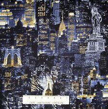 Cityscapes Fabric - New York City Nighttime Skyline - Benartex Kanvas YARD