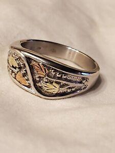 Mens Black Hills Gold Sterling Silver Ring Sz 12.5