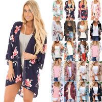 Womens Floral Boho Long Kimono Cardigan Holiday Summer Loose Jacket Coat Tops