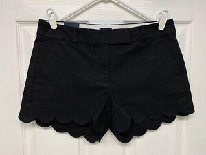 "J. Crew #L2142 Women's 4"" Linen Blend Scalloped Hem Shorts: Size 4, Black, NWT"