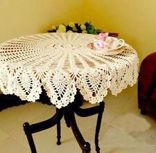 FD4597 Hand Crochet Round Table Cloth Runner Topper Cream Pineapple Cotton 32''