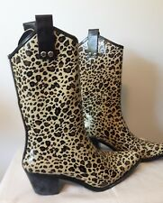 CAPELLI NEW YORK leopard print rubber cowboy boots Rain Wellies flocked lining 6