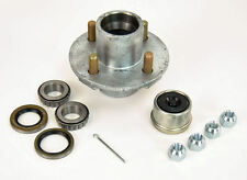 Trailer GALVANIZED Hub 4 Lug 1 Inch Bearings(44643) 2000lbs Kit with EZ-Lube Cap