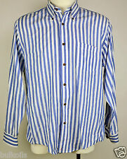 Lg Vtg. EUC Jordan Marsh New England Dress Shirt Blue white stripe Long Sleeve
