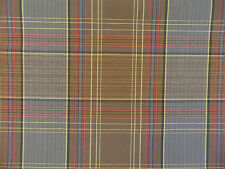 Blue,cocoa brownand multi-color woven plaid upholstery weight decorator material