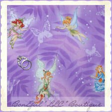 BonEful Fabric FQ Cotton Disney Princess Tinkerbell Fairy Tooth Butterfly Purple