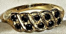 PRETTY 9KT Solid GOLD Sapphire ETERNITY RING