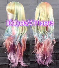 Multi-Color Mixed Rainbow Lolita Big Wavy Curly Long Anime Cosplay Wigs