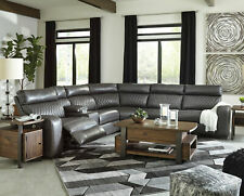 Modern 6pcs Sectional Living Room Gray Faux Leather Power Reclining Sofa Set F1W