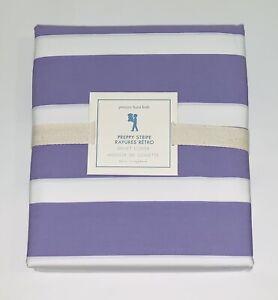 NWT Pottery Barn Kids St.Tropez Lavender Purple Preppy Stripe Duvet Cover Twin