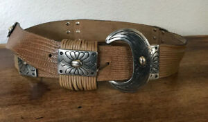 Bijoux Medici Belt VINTAGE Brown Leather Silver Tone Buckle Italy! Small 28-32