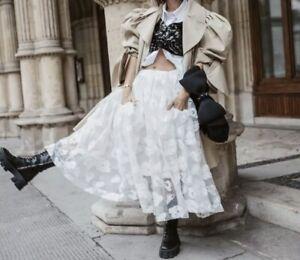 Simone Rocha X H/&M HM Tinsel-Embroidered Puff Skirt White UK 2 4 6 8 10 12 14 US