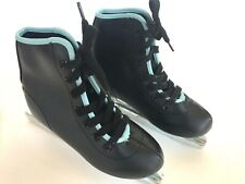 Double Blade Ice Skates Black with Blue Trim Youth Size 12J Excellent Condition