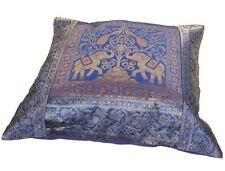 "Blue Cushion Covers Elephant Peacock Banarasi 17"" 43cm  Indian"