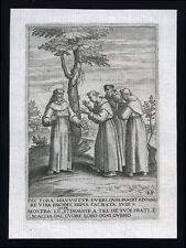 santino incisione 1594 S.FRANCESCO D'ASSISI MOSTRA LE STIMMATE A 3 FRATI INCRED