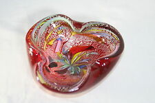 AVEM RED GLASS WITH LATTICINO LOT'S OF WORK WONDERFUL COLOR MURANO BOWL 12