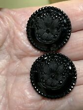 2 Vintage Black Glass Buttons With Flower Center
