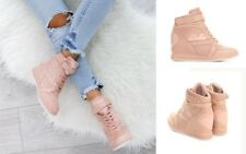 New Womens Ladies Hidden Wedge Lace Up Trainers High Top Sneakers Shoes Size 2-7